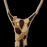 Bold Enamel Gold tone Modernist Necklace Signed DG