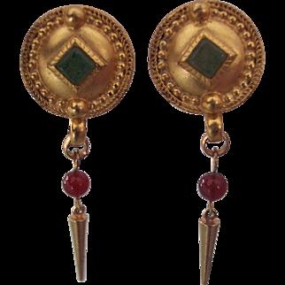 Vintage Early 1980's Robert Rose Semi Precious Stones Earrings