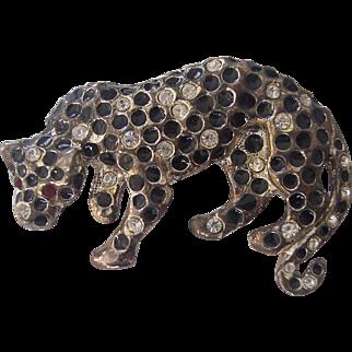 Leopard Brooch Enamel & Rhinestone Silver tone