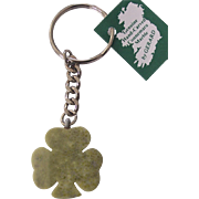 Connemara Marble Shamrock Pendant Key Chain Ireland
