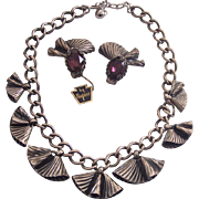 HTF Napier Necklace & Amethyst Purple Glass Earrings Fan Shape Silver tone