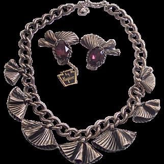 HTF Napier Necklace & Amethyst Purple Glass Earrings Fan Shape Silver tone