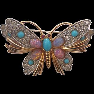 Vintage Jomaz Faux Opal Turquoise Butterfly Brooch