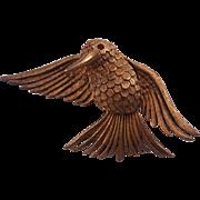 Vintage De Nicola Hummingbird Brooch Gold Tone