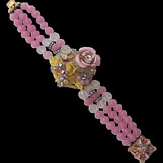 Stunning 3 Strand Pink Glass Enamel Rhinestone Bracelet