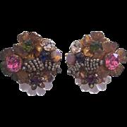 Stunning Vintage Miriam Haskell Signed Earrings
