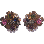 Stunning Vintage Miriam Haskell Signed Earrings