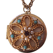 Vintage Pendant Locket Necklace Faux Pearl & Turquoise