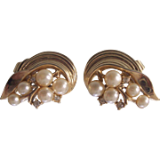 Vintage Trifari Faux Pearl Rhinestone Gold tone Earrings