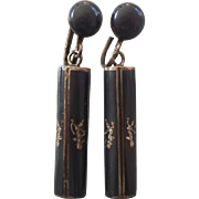 Vintage Sterling Niello Siam Tube Earrings