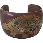 Vintage Mexican Copper Brass Abalone Turtle Cuff