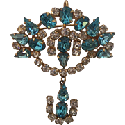 Vintage Aqua Rhinestones Retro Signed 40's-50's Drop Brooch Pendant Gold Filled