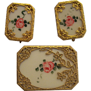 Vintage Painted Roses Gold tone Filigree Deco Pin Earrings Set