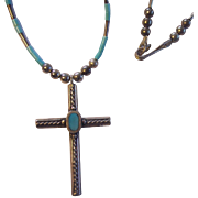 Southwestern Sterling Turquoise Cross w/Silver Beads Pendant Necklace