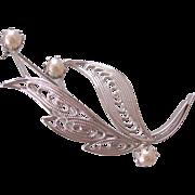 Vintage Czech Silver tone Filigree Faux Pearl Brooch