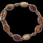 Vintage Faux Amber Bracelet in Gold tone