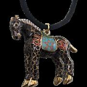 Vintage Enamel Cloisonne Horse Figural Pendant Necklace