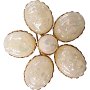 Vintage Coro Faux Opal Cabochon Flower Brooch Gold tone