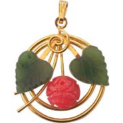 Vintage Carved Coral Rose and Jade Leaves Pendant in Gold Plate