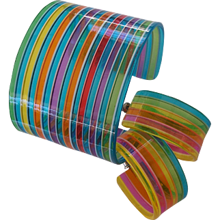FUN! Colorful Striped Plastic Cuff and Earrings Set
