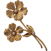 "Huge 4 3/4"" Textured Gold tone Faux Pearl Flower Brooch"
