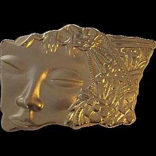 JJ Jonette Polynesian or Asian Woman Brooch Gold tone- Flaw