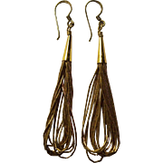 Sterling Liquid Silver Dangle Cone Earrings w/ Gold Wash Southwestern