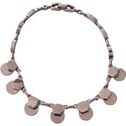 Machine Age Art Moderne Silver tone Necklace Kramer