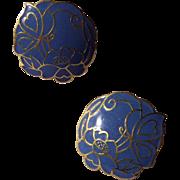 Sky Blue Enamel Earrings