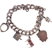 Sterling Double Link Charm Bracelet w/ 5 Charms Elco
