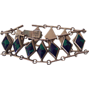 Vintage Mexican 950 Sterling Modernist Bracelet Azurite Malachite Mexico
