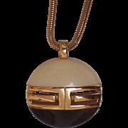 Givenchy 1970's Modernist Lucite Logo Pendant Necklace Gold tone Paris New York