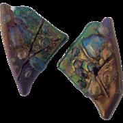 Vintage Artisan Modernist Dichroic Fused Glass Earrings