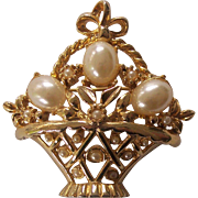 Vintage Faux Pearls Easter Eggs Basket Brooch Gold tone