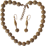 Vintage Golden Filigree Ball Necklace Earrings Set Monet Gold tone