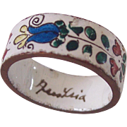 Vintage Austrian Enamel Floral Ring Unsigned Michaela Frey