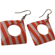 Fun Orange & White Striped Lucite Squared Hoop Earrings