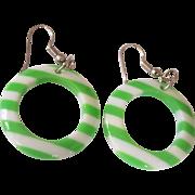 Fun Green & White Lucite Hoop Earrings