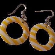 Fun Yellow & White Lucite Striped Hoop Earrings