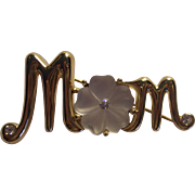 Gold tone Frosted Glass Mother's Day Mom Brooch Monet