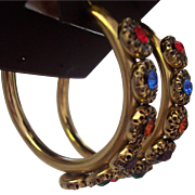 Large Bold Multi Color Rhinestone Gold Tone Filled Hoops