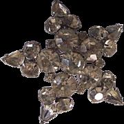 Large VIntage Star Burst Rhinestone Brooch Silver tone