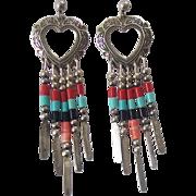 Sterling Silver Southwestern Heart Concho Dangling Earrings Q.T.