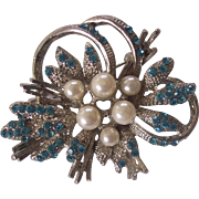 Blue Rhinestone and Faux Pearl Silver Tone Floral Brooch