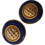 Large Vintage Blue and Gold tone Earrings