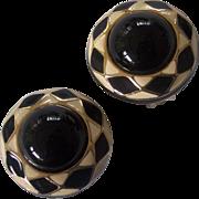 Black & Cream Enamel Lucite Gold tone Earrings