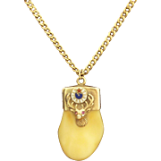 14K Gold Elk's Tooth Pendant + Chain Elks Lodge White Blue Red Enamel 11 0'clock