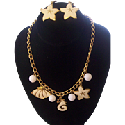 Napier Nautical Sea Life Enamel Gold tone Charm Necklace and Earrings Set