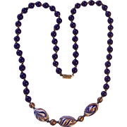Gorgeous Cobalt Blue Gold Swirl Italian Glass Beaded Necklace