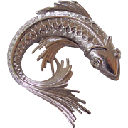 Fancy Koi Fish Brooch Monet Silver Tone